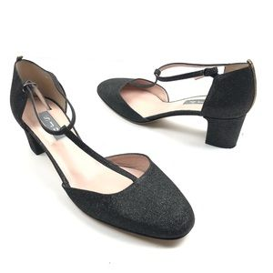 SJP BLACK BLOCK HEEL GLITTER PUMPS SIZE 8